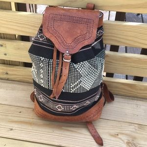 Awesome vintage leather Aztec backpack
